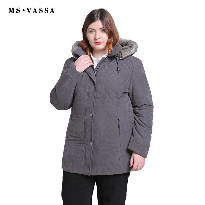 7dae8f82e8e ... MS Vassa женские парки Плюс Размер 2019 новые зимние весенние куртки с  отложным воротником удаленный капюшон ...