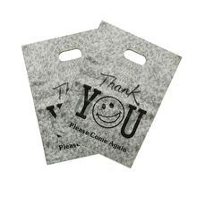 Wholesale 100pcs/lot 25X35cm Big Plastic Shopping Bags For Boutique Packaging Gray Thank You Gift Bag With Handle
