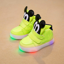 2018 Spring/Autumn LED light Patch Solid baby casual shoes high quality funny design girls boys sneakers Hook&Loop baby sneakers