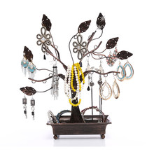 PIXNOR Metal Necklace Tree Design Jewelry Hangers Earring Holder Stand with Ring Dish Tray for Jewellery Display(China)