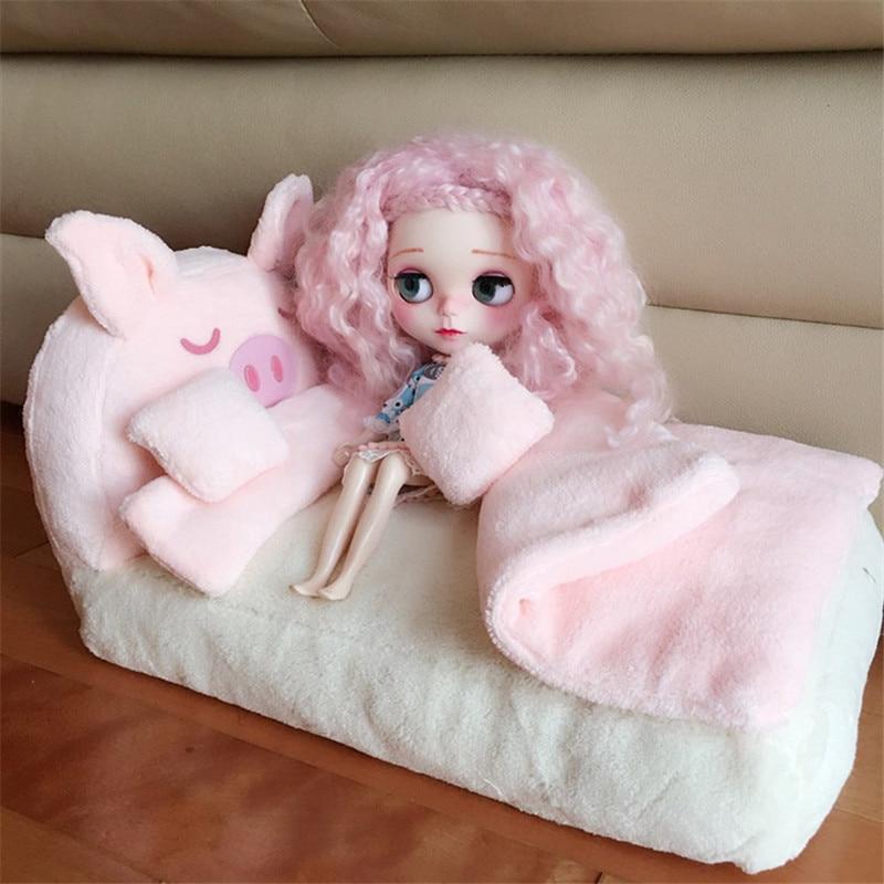 Doub K 1/6 Dollhouse Furniture Toy Kawaii Soft Simulation Mini Pink Bed Sofa Bedroom Pretend Play Toys For Girls Children Dolls