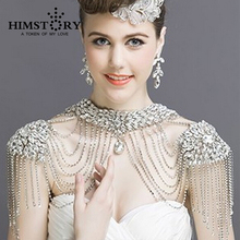 Luxious Vintage Christmas Valentine's  Gift Crystal Bridal Necklace Chain Tassel Shoulder Strap Wedding Accessories Jewelry недорого