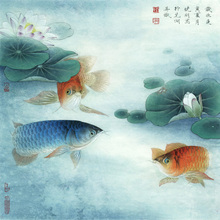seascape flower canvas painting pastoral traditional Chinese style painting in elaborate style golden fish under lotus leaves fish butterfly china chinese traditional patterns painting tattoo reference book