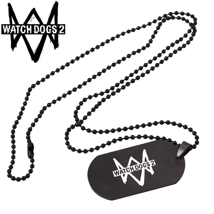 Russian Games Watch Dogs 2 Dedsec Necklace for Boys Best Friend Choker Link Stainless Steel Necklaces Male Neckless Watch Dogs2
