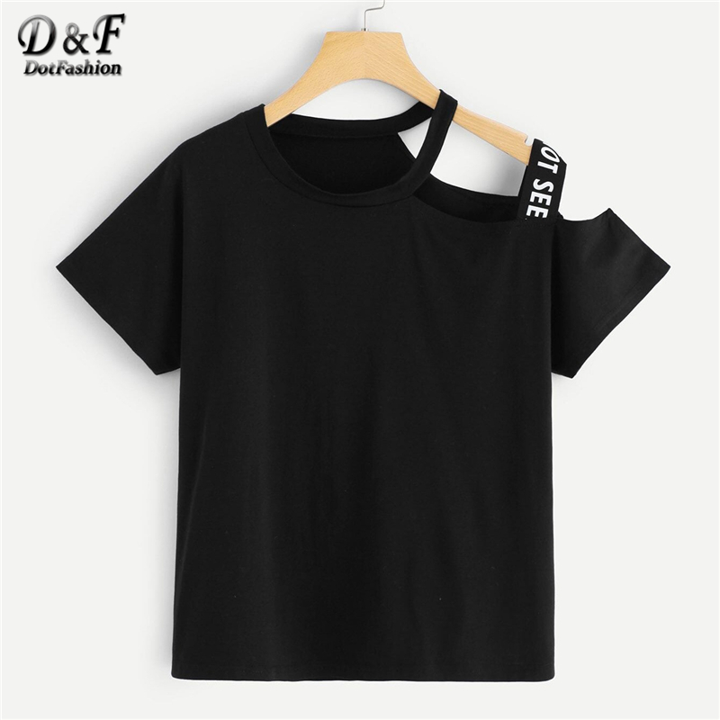 Dotfashion Plus Size Black Asymmetric Neck Letter Tape Tee Women 2019 Summer Casual Short Sleeve Tops Ladies Fashion T-Shirt