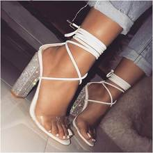 2019 Summer Fashion White Transparent Belt Thick-heeled High-heeled Sandals with Open-toed Crystal-heeled Women's Shoes стоимость