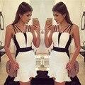Лето Европа США Новый Прилив Женщин Хлопок Blend Dress black белые Стропы Спинки Пакет Хип Секси Смазливая Фиштейл Русалка Партии Dress