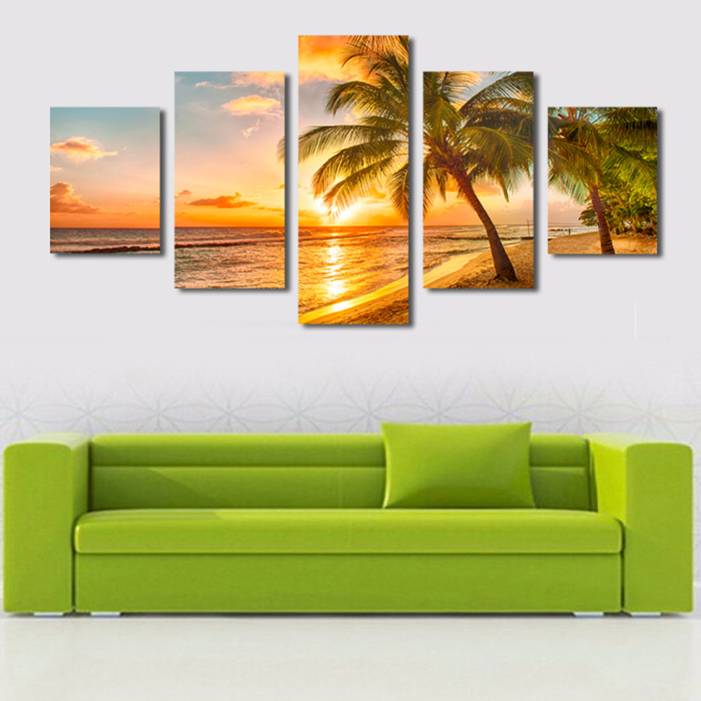 Framed Beach Wall Art.Us 10 0 60 Off Hot 5 Pieces Set Sea Scenery With Beach Wall Art For Wall Decor Home Decoration Picture Paint On Canvas Prints Painting Framed In