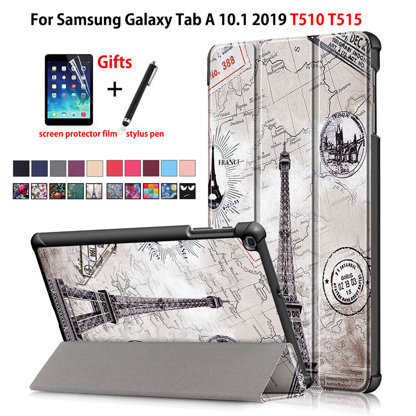 Case For Samsung Galaxy Tab A 10.1 2019 T510 T515 SM-T510 Cover Funda Slim Magnetic Folding PU Leather Stand Shell +film+stylusCase For Samsung Galaxy Tab A 10.1 2019 T510 T515 SM-T510 Cover Funda Slim Magnetic Folding PU Leather Stand Shell +film+stylus