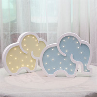 Nordic Style Wooden LED Light Cute Elephant Shape Table Lamp Children's Bedroom Wall Hangings Ornament Home Decor Furnishings