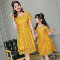 Mother And Daughter Lace Summer Dresses Family Matching Clothes Patchwork Yellow Green Red Princess Dress For