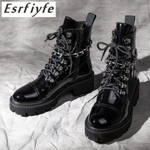 ESRFIYFE 2019 New Patent Leather Platform Ankle Boots Women Thick Heel Round Toe Martin Zip Shoes Woman Chaussures Femme
