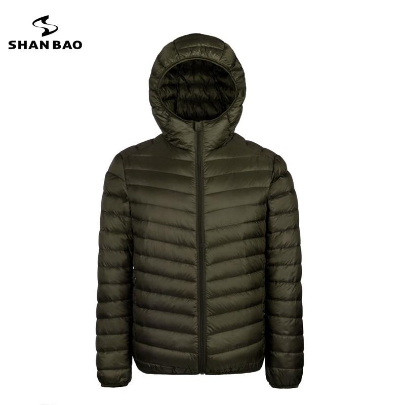 2017 осенние и зимние новые мужские легкие с капюшоном пуховая куртка карман на молнии сплошной цвет высококачественный Белая куртка с утиным пухом