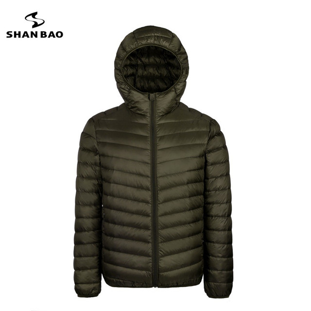 2018 autumn and winter new men's lightweight hooded down jacket zipper pocket solid color high-quality white duck down jacket