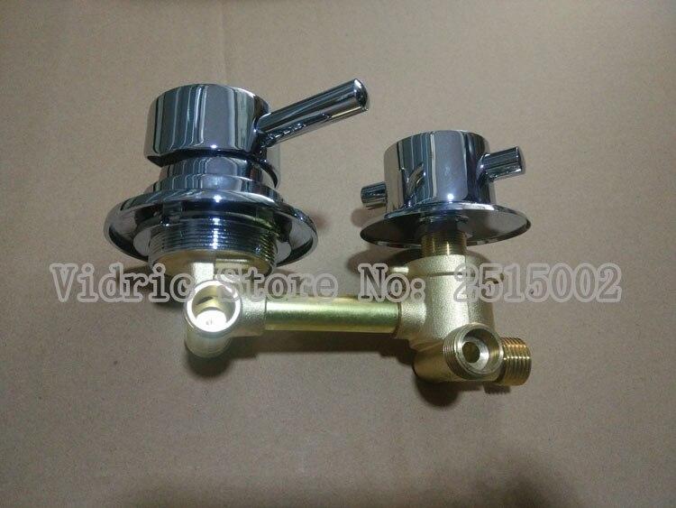 Mélangeur de salle de douche sur mesure robinet d'eau froide et chaude, 2/3/4/5 voies filetage mitigeur de salle de bain chromé