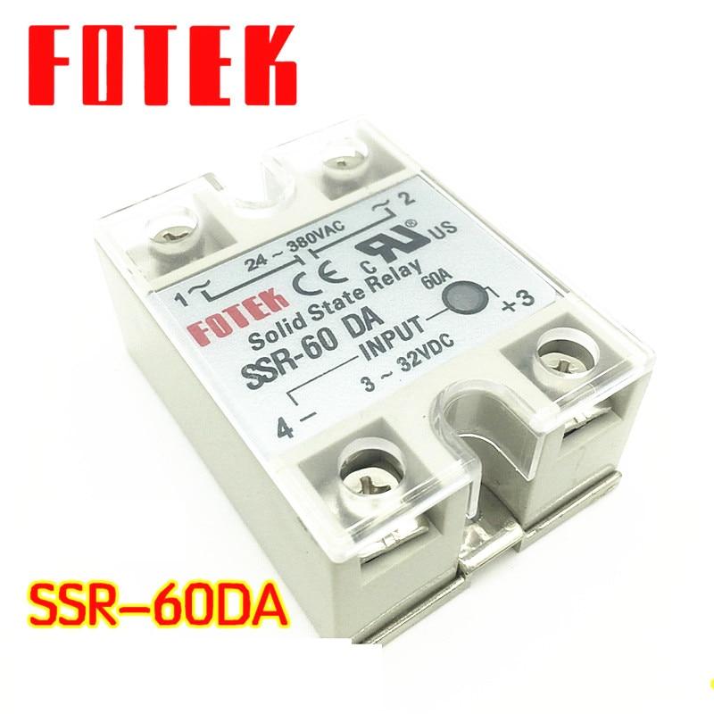 Solid State Relay SSR-60DA 60A 3-32VDC 24-380VAC SSR normally open single phase solid state relay ssr mgr 1 d48120 120a control dc ac 24 480v
