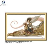 Joy Sunday The girl sat on the dragon reading a book Counted Cross Stitch DIY 14CT and 11CT For Embroidery Home Decor