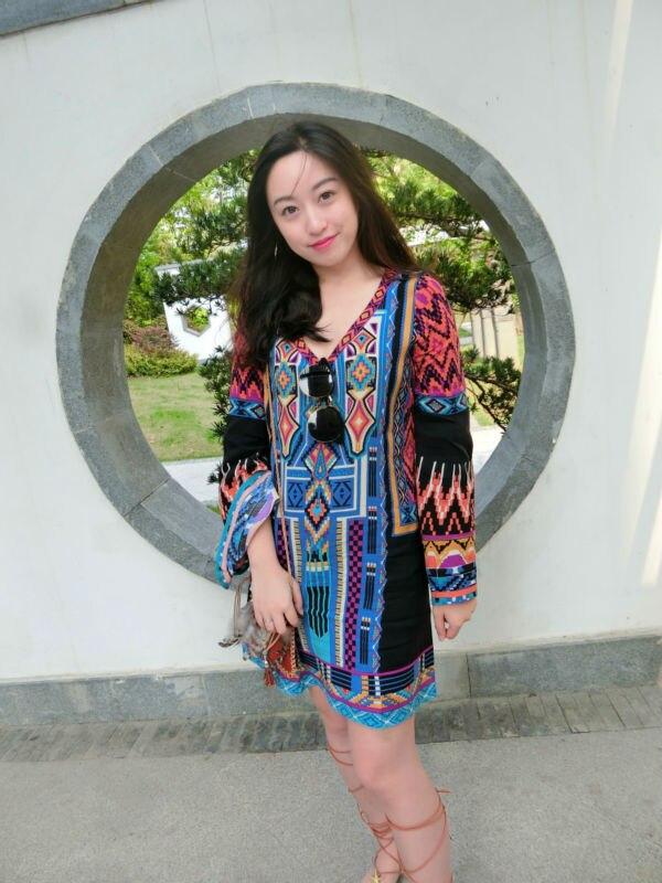 בוהו עיצוב מזדמן הדפסה האצטקית צועני שמלת מקסי דפוסי שרוול ארוך צוואר V מיני DressMHD060