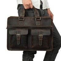 Nesitu Винтаж чёрный; коричневый натуральной кожи Натуральная Crazy Horse кожа Для мужчин Курьерские сумки 14 ''ноутбук мужской Портфели портфель M6380