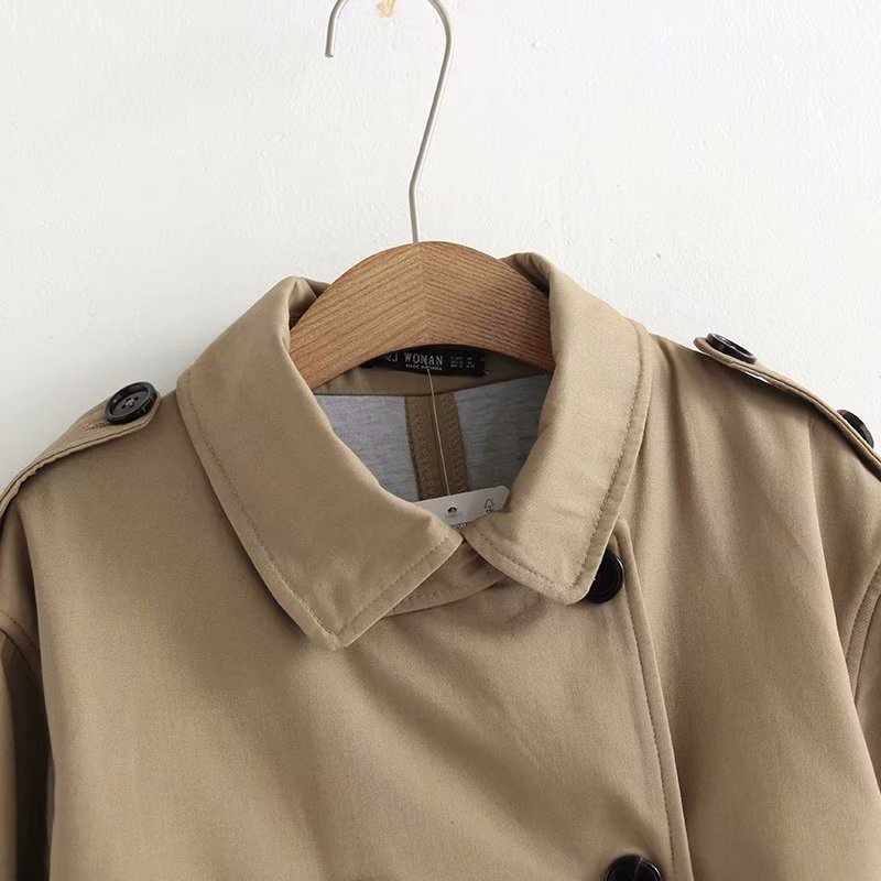 Women Casual Solid Color Double Breasted Outwear Sashes Office Coat Chic Epaulet Design Long Trench CRRIFLZ Autumn Collection 7