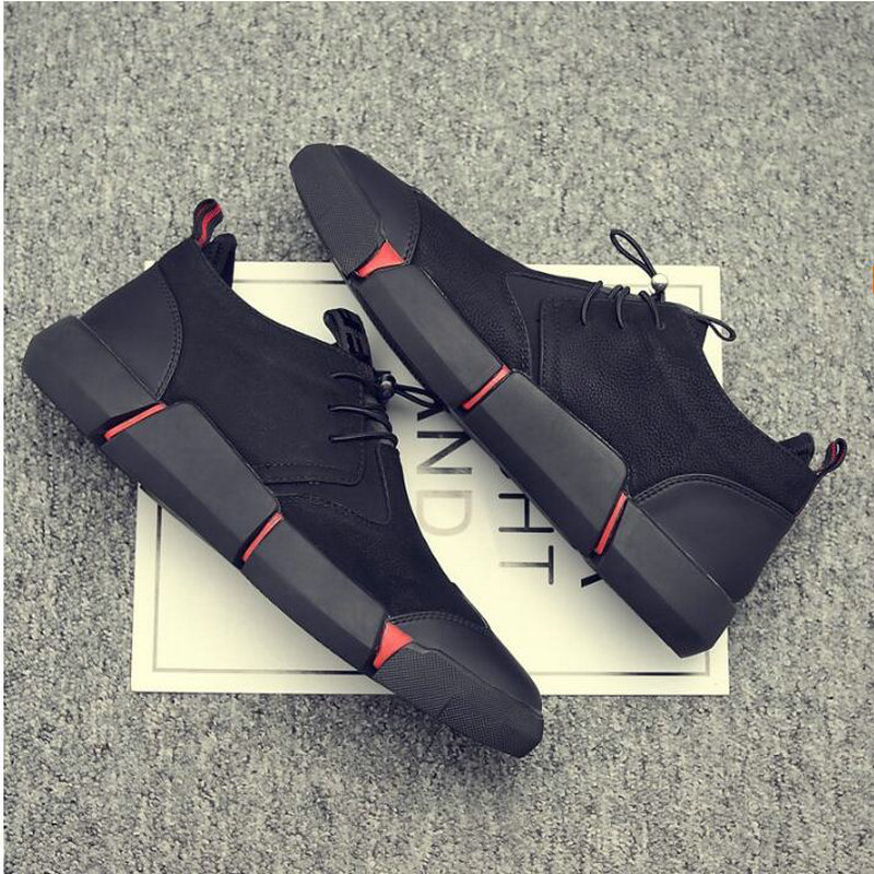 4097294b97 US $23.79 40% OFF|NEW Brand High quality all Black Men's leather casual  shoes Fashion Breathable Sneakers fashion flats big plus size 45 46 LG  11-in ...