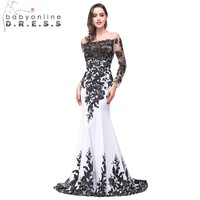 Robe De Soiree Real Image Long Sleeve Evening Dress 2016 Sexy Cap Sleeve Black Lace Mermaid Prom Dresses Vestido de Festa