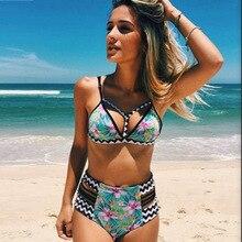 P&j 2017 Bikinis Women High Waist Swimsuit Bathing Suit Halter Swimwear Brazilian Bandage Swimming Bandeau Woman Bikini Set