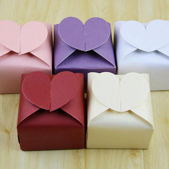 100pcs Heart Shaped Wedding Gift Box Hot Candy Bo For Paper Bags Handmade Christmas Party
