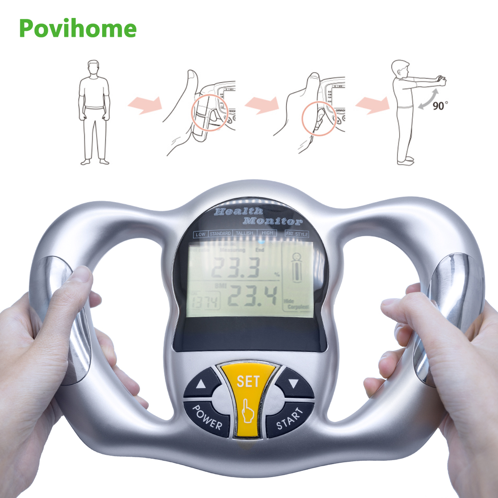 Povihome Monitor Digital LCD Fat Analyzer BMI Meter Weight Loss Tester Calorie Calculator Measurement Health Care Tools C1418 vending ultrasonic height and weight bmi fat blood pressure machine with coiner and printer kn 15a with high clear lcd