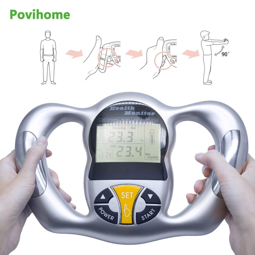 цена на Povihome Monitor Digital LCD Fat Analyzer BMI Meter Weight Loss Tester Calorie Calculator Measurement Health Care Tools C1418