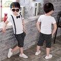 Conjunto de Roupas meninos de Verão Do Bebê Crianças Moda Terno Camisa Cavalheiro Calças Tarja Menino Traje Festa de Aniversário de Casamento Formal B008