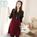 9508# Slim Ties Waist Thick Maternity Dress Elegant 2017 Spring Winter Long Sleeve Clothes for Pregnant Women Pregnancy Clothing