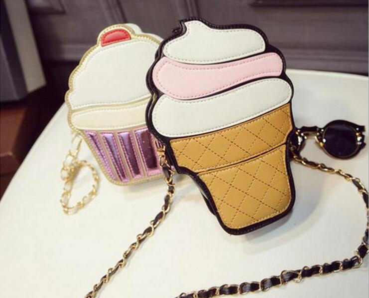 Lovely Icecream Cake Lady Pu Leather Female Fashion Shoulder Bag #1605 Women Crossbody Bag Free Shipping