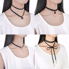 10 PCS/Set Choker Necklaces Gothic Tattoo Black Lace Leather Velvet