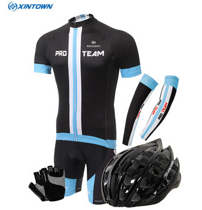 ФОТО XINTOWN pro Cycling Jersey Helmet gloves Cuff  Set roupa ciclismo hombre bicicleta sport jerseys cheap authentic  clothes china