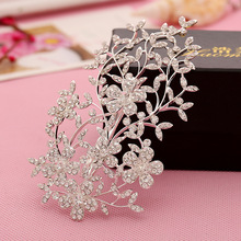 Dower me Shiny Rhinestone Floral Hair Clip Comb Wedding Accessories Silver Bridal Headpiece Women Headdress
