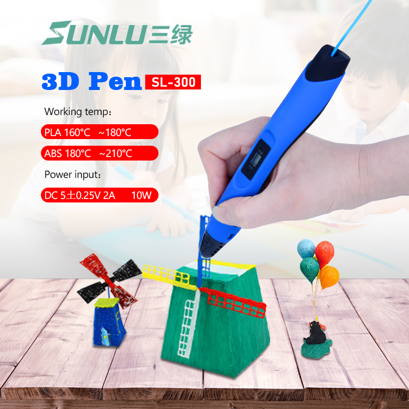 Sunlu SL-300 3D pen print with 20 pcs printing filaments Plastic 100M 1.75mm ABS temperature protection 3D pens Printer flsun 3d printer big pulley kossel 3d printer with one roll filament sd card fast shipping