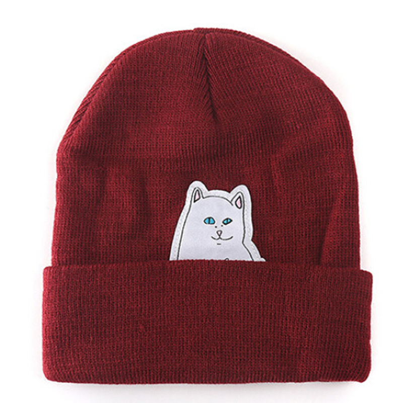 Cat knit hat winter ladies hats ladies men's knit hat casual fashion autumn and winter warm winter Cap   Skullies     Beanie   Hat