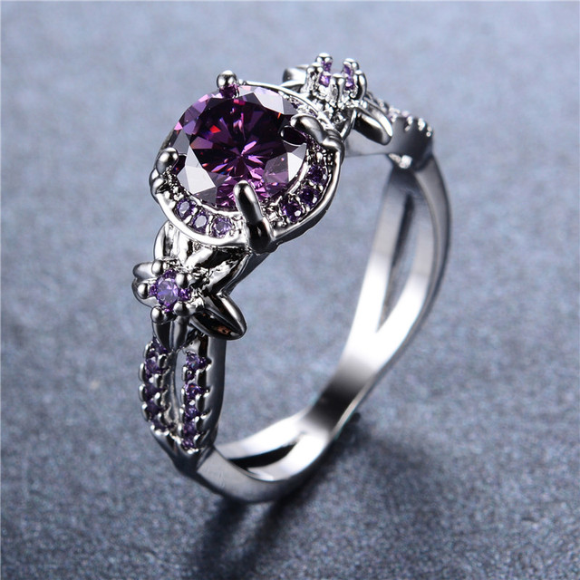925 Sterling Silver Ring Vintage Hollow Round Stone Jewelry for Women Purple Zircon Claw Rings Aneis Wedding Band Gift RW1409