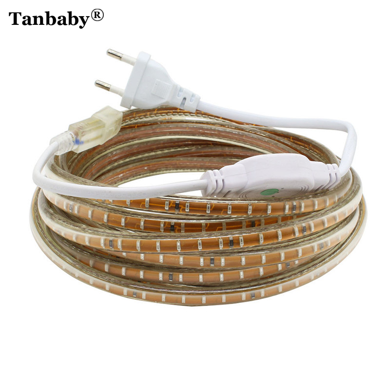 Tanbaby IP67 Waterproof SMD5050 2835 3014 220V led strip flexible light Tape 60&120 LEDs/M Outdoor Garden lighting EU Plug Power 0 9m smd 3528 90 leds waterproof led rope light festival lighting
