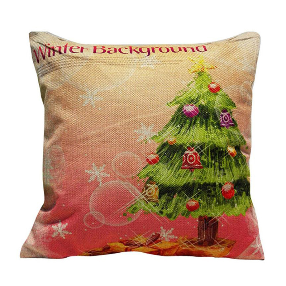 Ouneed Christmas Tree Linen pillow Cushion Cover for Home Office/Hotel/Car Use Festival Pillow
