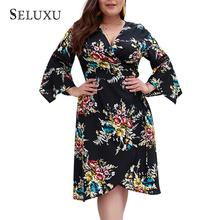 Seluxu Plus Size Dresses Summer Women 2019 Long Sleeve Boho Floral Print Sexy Ladies Midi Dress