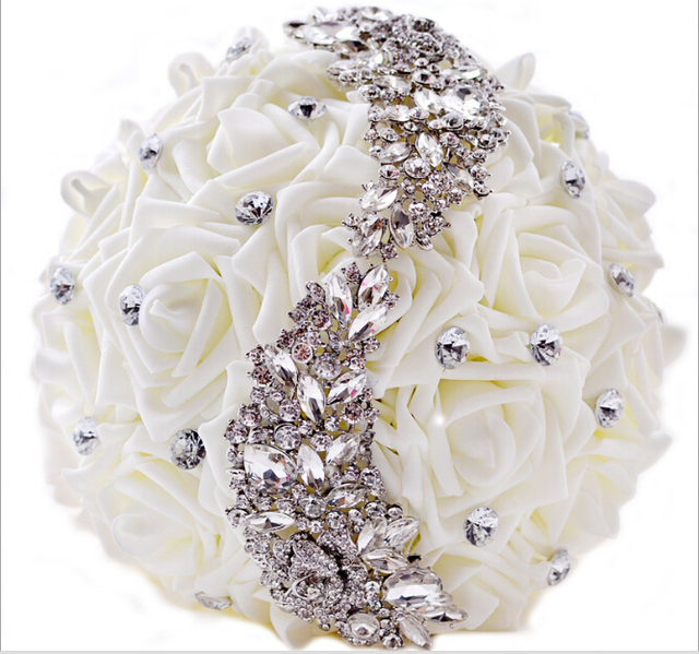 Blanco hecho a mano elegante Artificial decorativa Rhinestone novia dama de honor con Crystal Wedding Bouquet flor