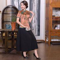 Traditional Chinese Style Blouse Skirt Sets Women Silk Short Sleeve Shirt Mandarin Collar Clothing Summer Flower Plus Size S 4XL