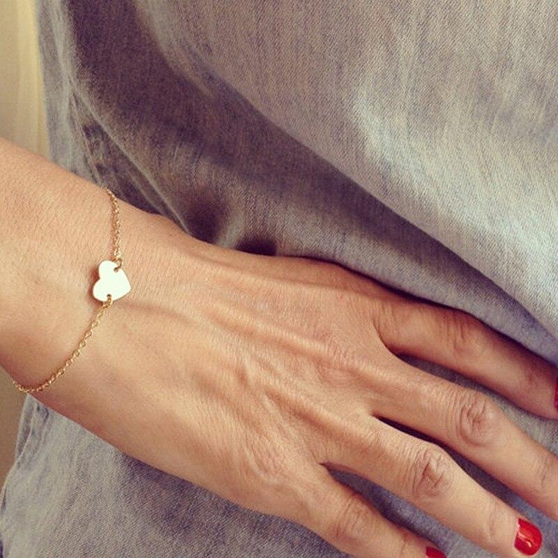 L235 New Fashion Minimalist Pulseira Bijoux Fine Dainty Heart Tiny Bracelet & Bangle Charm Chain Bracelet for Women Jewelry Gift