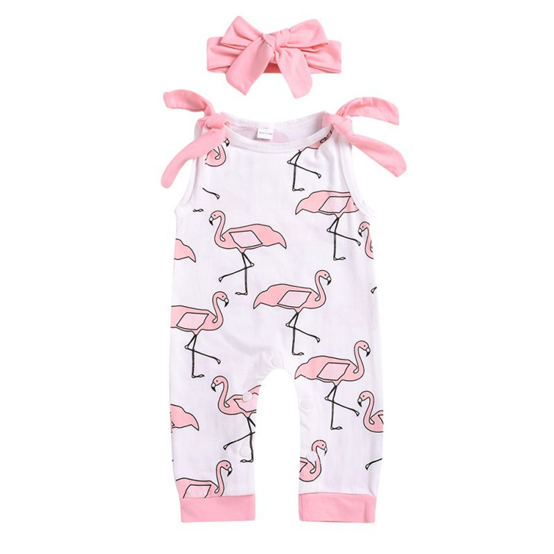 0-24M Summer Newborn Baby Girls   Rompers   Set Sleeveless Cartoon Animal Print Jumpsuit With Headband