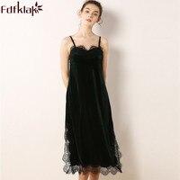 Fdfklak M XXL Plus Size Women Night Dress Sexy Sleepwear Lace Lingerie Nightgown Sleeping Dress Summer Velvet Long Nightgowns