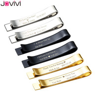 JOVIVI 2017 Personalized Mens Stainless Steel Regular Tie Bar Clip Special Message On Back Great Gift