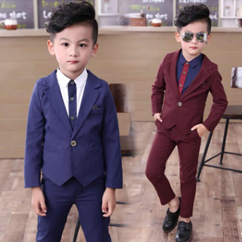 Angemessen Han-ausgabe Kinder Tragen Den Frühling Und Herbst Zeitraum Und Die Jungen Anzug Kinder Anzug Zwei-stück Blume Mädchen Kleid