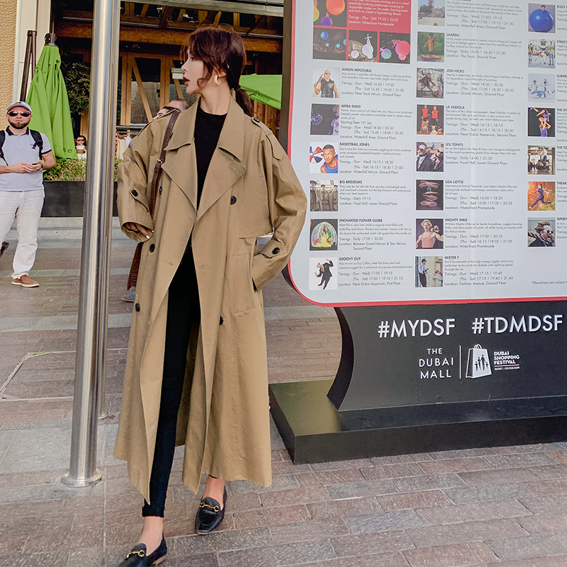Fall Winter Women Long   Trench   Coat New Korean Loose Large Size Popular Windbreaker Female Long Over Knee Cloak Manteau Femme